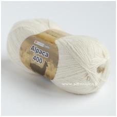 Hjertegarn Alpaca 400 pieno balta 100