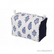 KnitPro dėklas mezgimo priemonėms (melynas, gėlytės)