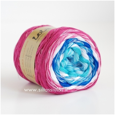 Lola 3 ply/150 g Weiss Himbeere 3668 2