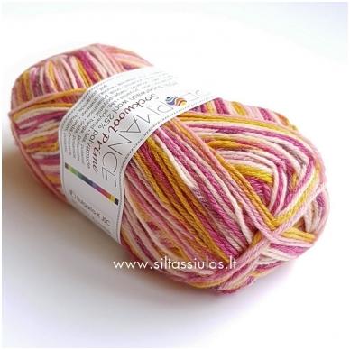 Sockwool Prime Multi 17517 rausva - ciklamenas - geltona 2