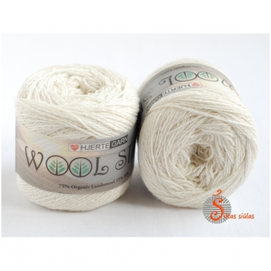 Hjertegarn Wool Silk 3012 drobės balta 2