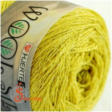 Hjertegarn Wool Silk 3019 citrinų žalia 2
